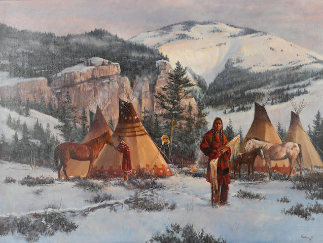Del Parson (American, born 1948) Winter camp, 1981 30 x 40in