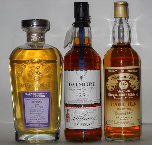 Rosebank- 15 years old  Dalmore- 28 years old  Caol Ila- 16 years old