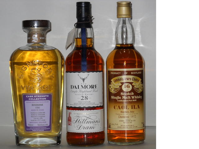 Rosebank- 15 years old<BR /> Dalmore- 28 years old<BR /> Caol Ila- 16 years old