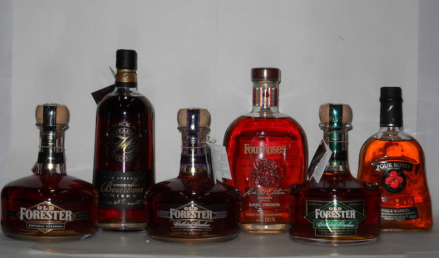 Four Roses<BR /> Four Roses<BR /> Parker's Heritage Collection<BR /> Old Forester- 13 years old<BR /> Old Forester- 13 years old<BR /> Old Forester- 8 years old