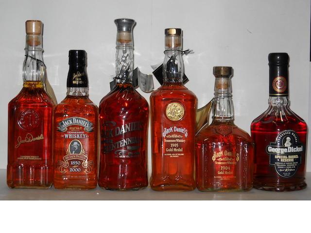Jack Daniel's (2 bottles) <BR /> Jack Daniel's<BR /> Jack Daniel's<BR /> Jack Daniel's<BR /> Jack Daniel's<BR /> George Dickel- 10 years old
