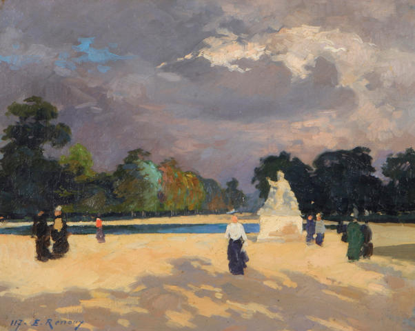 Jules Ernest Renoux (French, 1863-1932) Le Bassin des Tuileries 13 x 16 1/4in