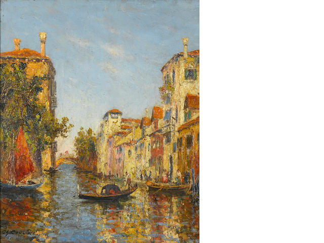 Charles Louis Auguste Cousin (French, 1807-1887) A canal in Venice 25 1/2 x 21 1/2in