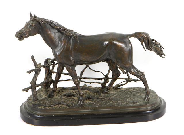 After Pierre Jules Mene, Equestrian sculptural work - standing horse