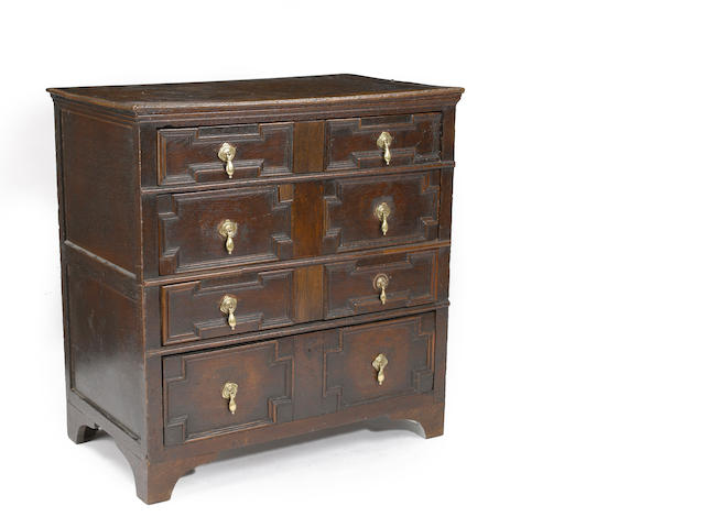A Charles II English oak chest<BR />late 17th century