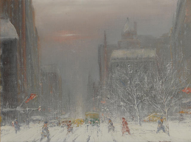 Johann Berthelsen (American, 1883-1972) City view in winter (5th Avenue and 58th Street) 12 x 16in