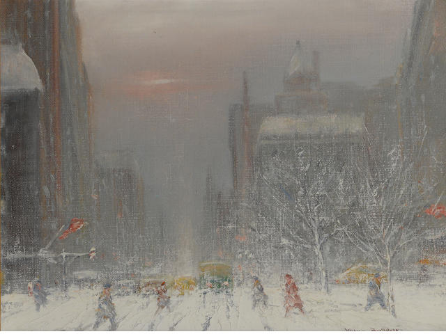 Johann Berthelsen  City view in wintertime (5th Avenue and 58th Street) signed 'Johann Berthelsen' (lower right) oil on canvas (original) 12 x 16in