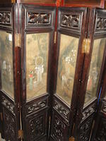 An eight panel wood screen with inset paintings  Late Qing/Republic period