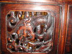 A huali, huanghuali and mixed wood three-drawer altar coffer Late Qing/Republic period