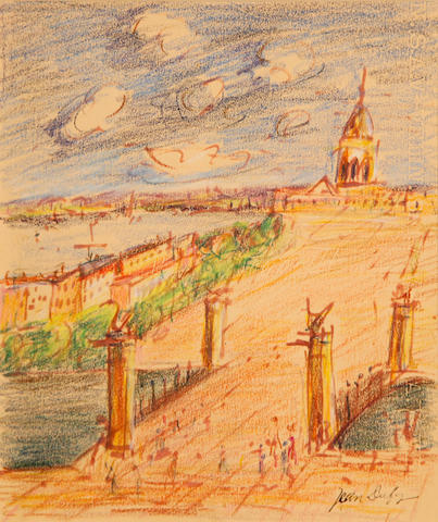 Jean Dufy (French, 1888-1964) Paris scene (possibly le Pont Alexandre III) 12 x 10in (30.4 x 25.4cm)