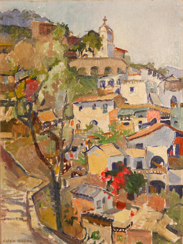 Helen Gapen Oehler (American, 1893-1979) Hillside town; Church amongst rolling hills (two) first 16 x 11 3/4in; second 11 3/4 x 16in