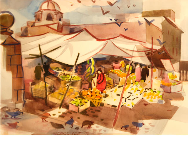 George Booth Post (American, 1906-1997) Market, San Miguel de Allende, Mexico, 1978 18 x 24in