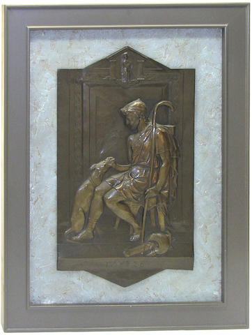 A pair of framed patinated bronze plaques: Penelope and Ulysses late 19th century