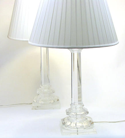 A pair of contemporary acrylic  'Crystal'  table lamps Visual Comfort & Co<BR />20th century