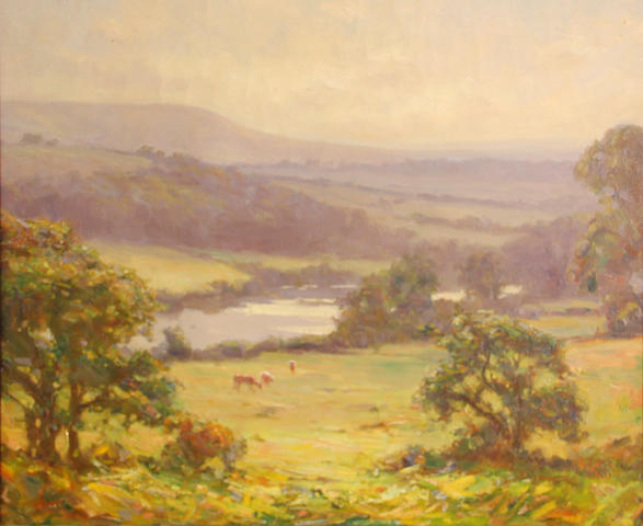 American School (20th Century) Landscape with cows, Napa Valley 20 x 24in