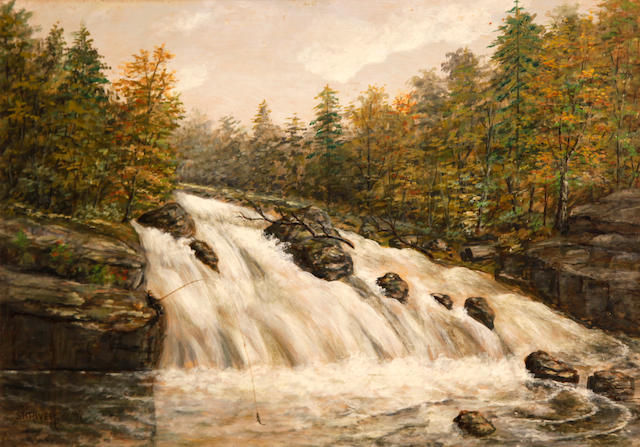 American School (Late 19th/Early 20th Century) Rapids of Montreal River, north of Lake Superior, 1897 14 x 20in