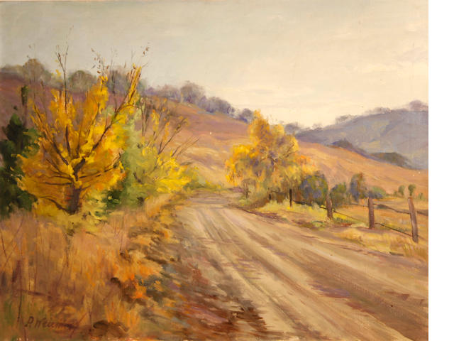 Paul F. Weindorf (American, 1887-1965) Road through a hilly landscape 24 x 30in