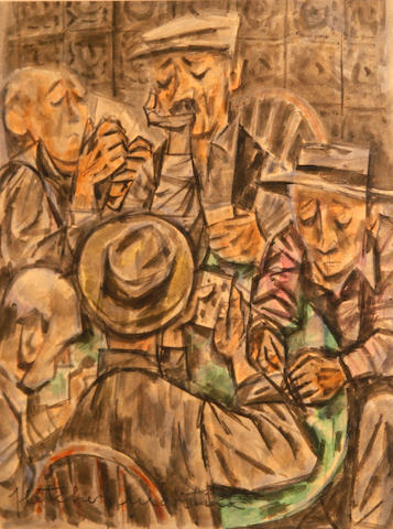 Fletcher Martin (American, 1904-1979) Poker players 19 3/4 x 15in