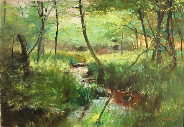 Stephen Juharos (American, 1913-2010) Stream through a forest landscape 24 x 30in