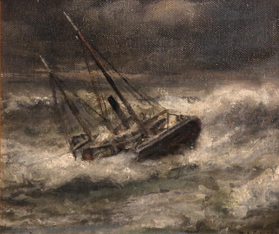 William Alexander Coulter (1849-1936) The Aberdeen in rough seas 8 1/4 x 10in