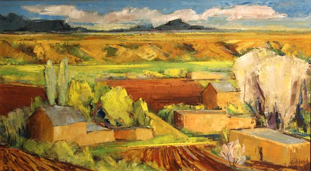 Eric Gibberd (American, 1897-1972) Taos in spring, 1957 20 x 36in