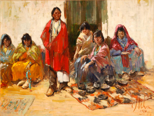 Vladan Stiha (American, 1908-1992) Indian markets, Santa Fe, 1970 18 x 24in