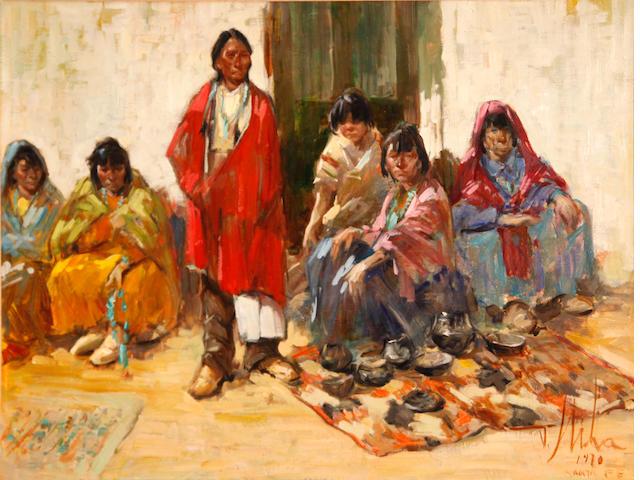 Vladan Stiha (American, 1908-1992) Indian markets, Santa Fe, 1970 18 x 24in