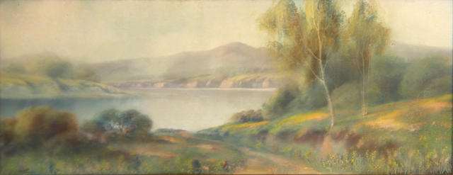 Harry Linder (American, 1886-1931) Wildflowers and trees along a peaceful lake 10 x 24in