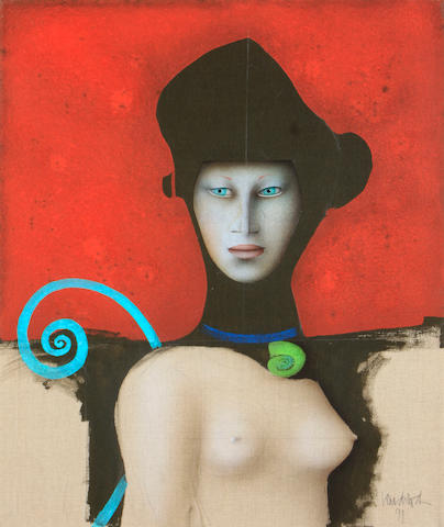 Paul Wunderlich (German, 1927-2010) Woman in black hat, 1991 31 5/8 x 25 5/8in
