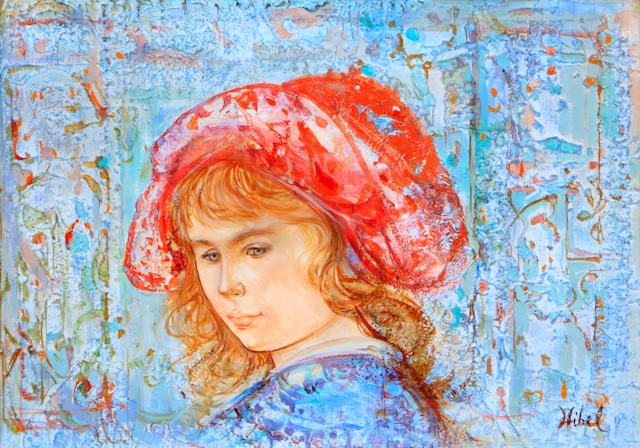 Edna Hibel (American, born 1917) Girl in red bonnet 9 3/4 x 14in