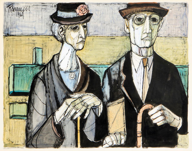 Lucio Ranucci (Italian, born 1925) Portrait of an elderly couple sight 17 1/4 x 21 1/2in