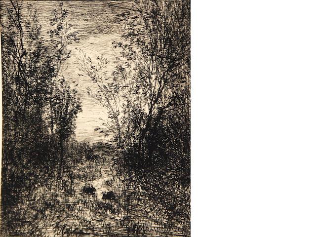 Charles Francois Daubiguy, Le ruisseau dans le clairiere (D.137), 1862;