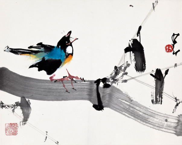 Zhao Shao'ang (1905-1998) Two paintings of birds on branches