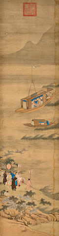 Attributed to Qiu Ying and Zhao Binglin (1873-1927) Journey on the lake, with mounting colophon by Hu Siyin 1918