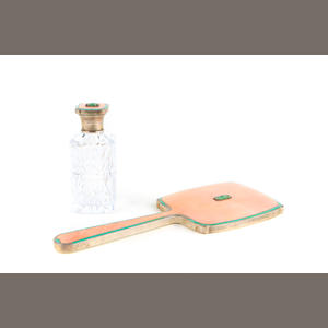 A silver cut glass enamel and jade mounted scent bottle and hand mirror
