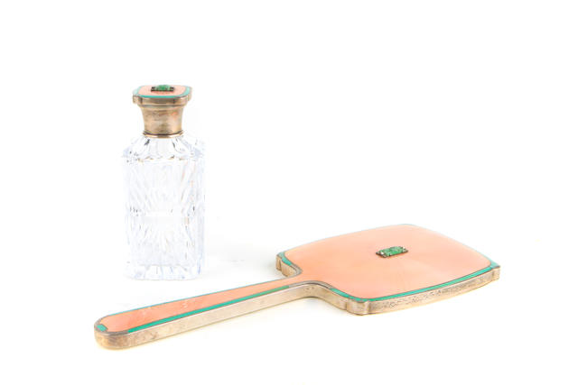 An Edward VIII carved-jade-inset pink and green enameled sterling silver-mounted glass Art Deco vanity mirror and bottle Atkin Brothers, Birmingham, 1938