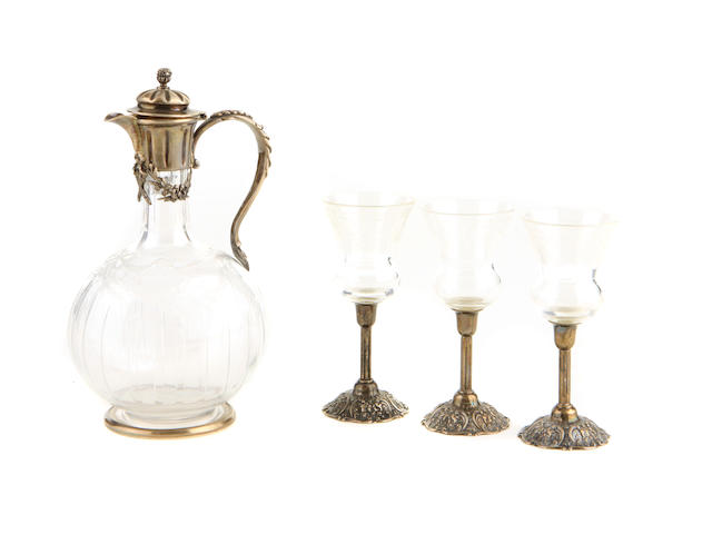 An assembled sterling silver mounted etched glass table service Late 19th / 20th century
