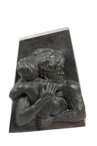 Victor Salmones (Mexican, 1937-1989) Man with baby 34 1/4 x 28 x 14 5/8in