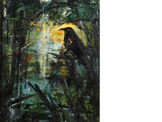 John Alexander (born 1945) Blackbird looking at the light, 1991 16 x 13in