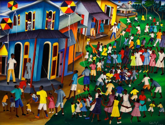 Castera Bazile, Hatian street scene, acrylic/c