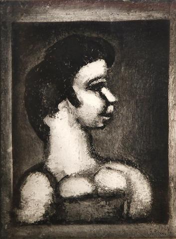 Georges Rouault (French, 1871-1958); Courtisane en profil à droite, Pl. X,  from Quatorze Planches Gravées pour Les Fleurs du Mal;