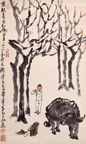 Li Keran (1907-1989) Herding a Buffalo, 1983