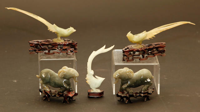 A group of five green hardstone animal carvings