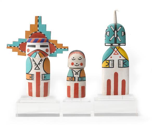 Three Hopi cradle kachina dolls