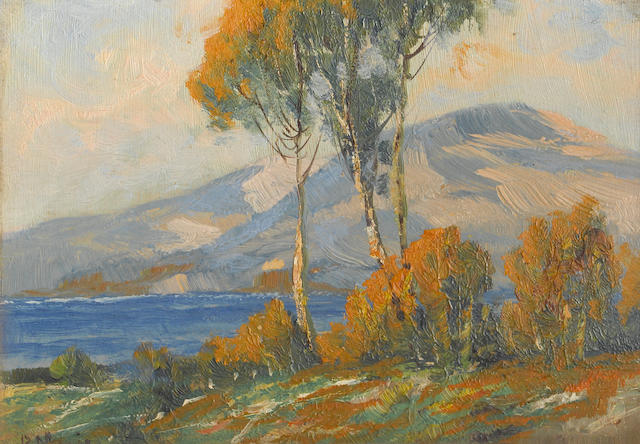 Joshua Lawrence Meador (American, 1911-1965) Trees and rolling hills accompanied by two additional paintings (see below) 6 x 8in