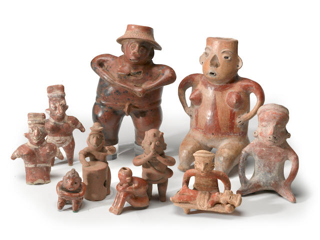 A group of West Mexican figures including two Colima musicians, two Chinesco seated figures, two Nayarit figures, a Nayarit doctor, and patient and a Comala figure