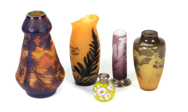 A group of four cameo glass vessels