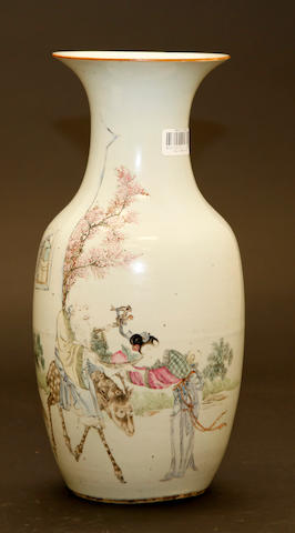 A Chinese famille rose enameled porcelain baluster vase Late Qing/Republic period