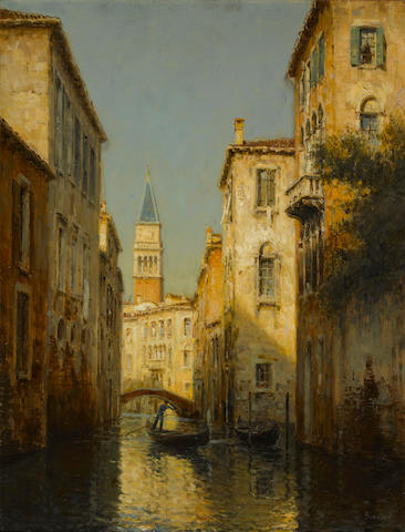 "Antoine Bouvard, Venetian canal scene, framed oil on canvas 20"" x 28"""