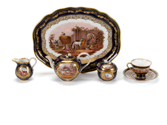 An assembled German porcelain part tea service
